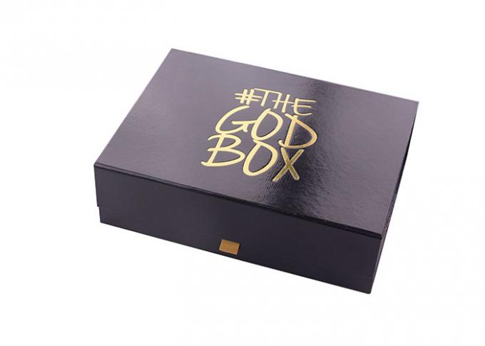 Rectangle Paperboard Folding Gift Boxes With Black Photoresist And Hot Gold Logo