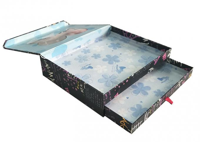 Black Double Layer Book Shaped Gift Box With Transparent Window Clear Top