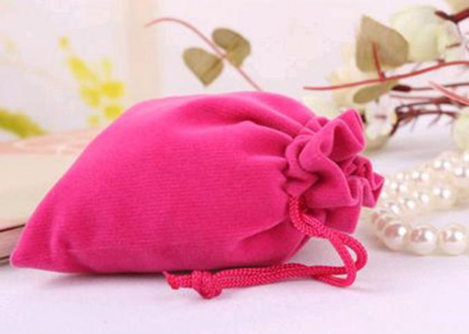 Jewelry Storage Velvet Drawstring Bags Promotional Light Grey Shock Resistance
