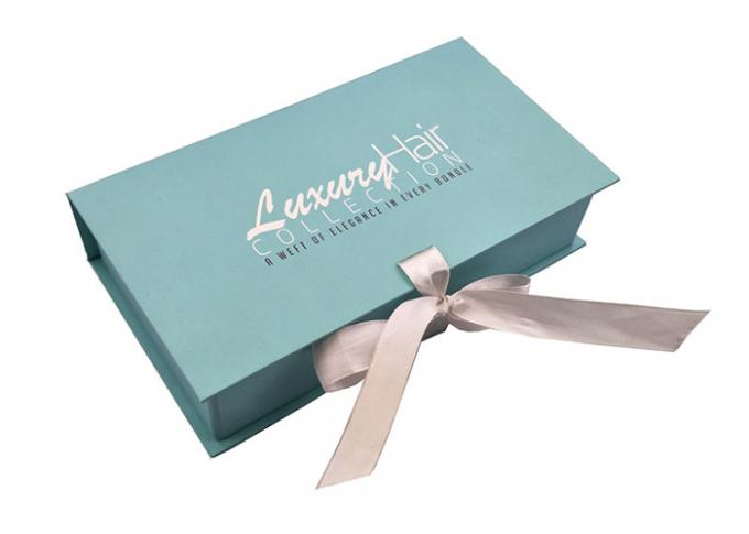 Teal Light Blue Paper Decorative Cardboard Storage Boxes Ribbon Environmental