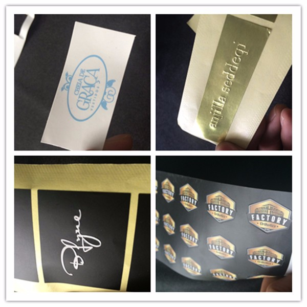 Glitter Brand Black Custom Sticker Labels With Hot Stamping Logo Embossing Printing