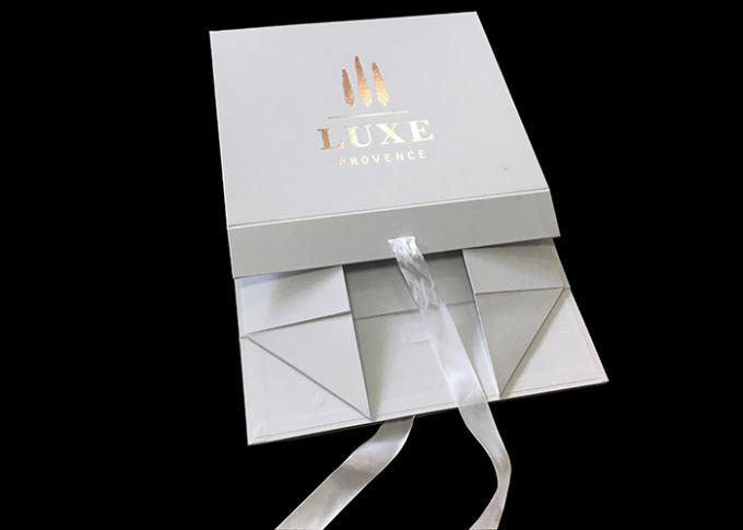 Ribbon Logo Customized White Folding Paper Gift Box For Clothes Packing