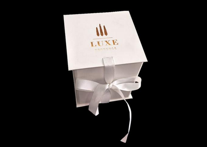 White Carton Square Flat Folding Boxes With Ribbon Open / Closure