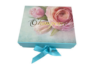 Printed Flower Surface Environmental Folding Gift Boxes Magnetic Closure