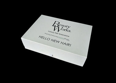 China White Cardboard Folding Gift Boxes , Gift Box With Lid For Hair Extension Storage factory