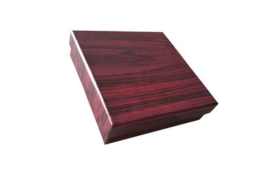 China Deep Red Wood Color Lid And Base Boxes With Velvet Surface Inner 1200gsm Cardboard factory