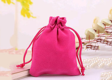 Durable Style Small Velvet Drawstring Bags Cotton Flap Soft Pink Colored