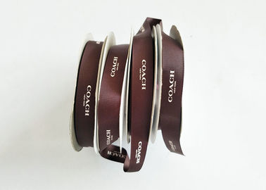 China Brown Solid Silk Printing Logo Satin Ribbon Roll For Gift Decorating Heat Cut factory