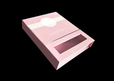 China Pink Magnetic Closure Gift Card Box With Two Interlayers And A Clear Window factory