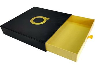 China Black Paper Sliding Drawer Gift Boxes Foil Gold Embossed Logo For Clothing factory