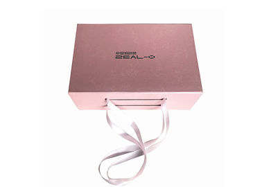 China Embossing Logo Folding Gift Boxes Pink Color Rose For Clothing Packaging factory
