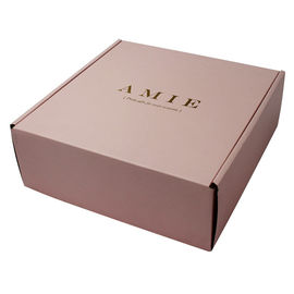 Pink Color Printed Shipping Boxes 27 x 22 x 6.5cm Gold Stamping Logo