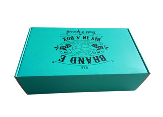 Rigid Teal Color Folding Gift Boxes Black Logo Flat Pack Without Lamination Surface