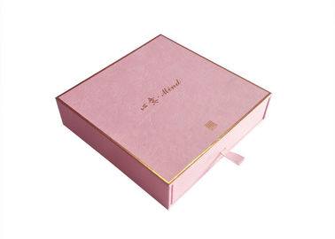 Cosmetic Packaging Sliding Paper Box Pink Textured Paper Gold Foil Logo Durable