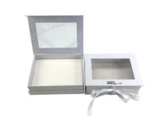 Clear PVC Window Foldable Gift Boxes Embossing / Hot Stamping Surface With Ribbon Closure