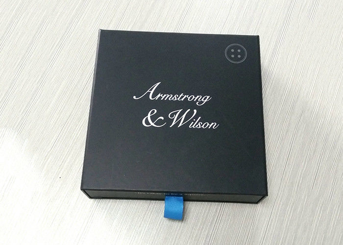 Ribbon Pulling Square Cardboard Paper Gift Box Black Drawer Shaped supplier