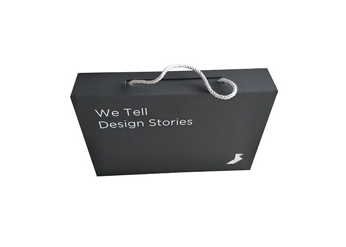 Black Paperboard Folding Packaging Boxes Logo Custom With Pull Rope Collapsible supplier