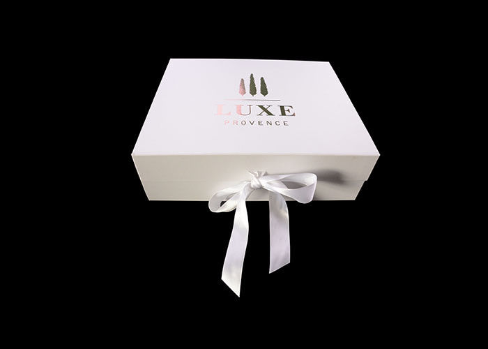 Cover Lamination Retail Folding Gift Boxes Retail White Ribbon Rose Gold Logo supplier
