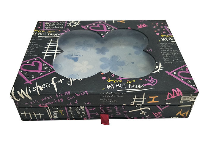 Black Double Layer Book Shaped Gift Box With Transparent Window Clear Top supplier