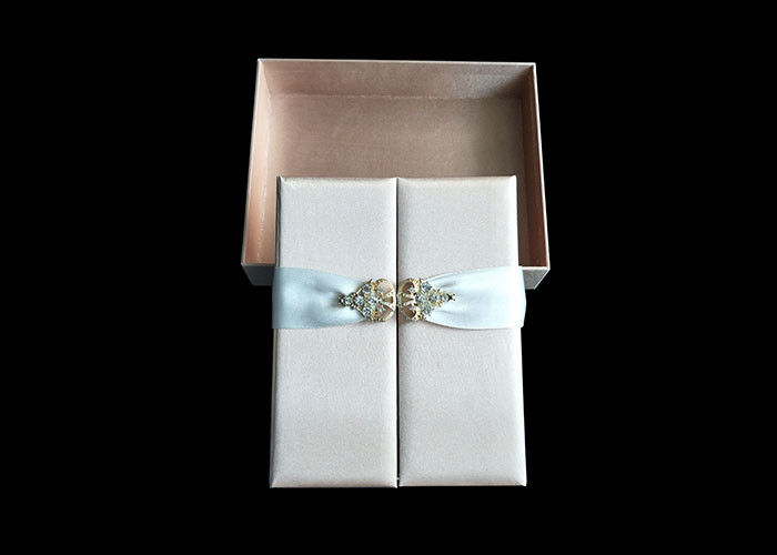 Wedding Favor Dress Book Shaped Box , Magnetic Flip Top Box Ribbon Closure supplier