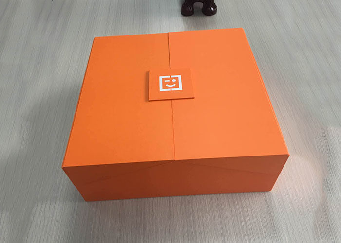 Cardboard Book Shaped Box Orange Colored Top Printed With Black Partition supplier