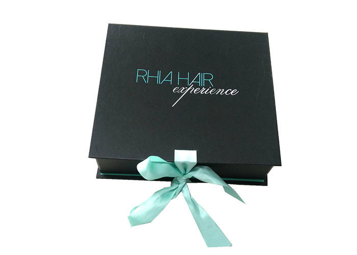 Hair Extension Packaging Box Paperboard Wig Box With Ribbon Closure