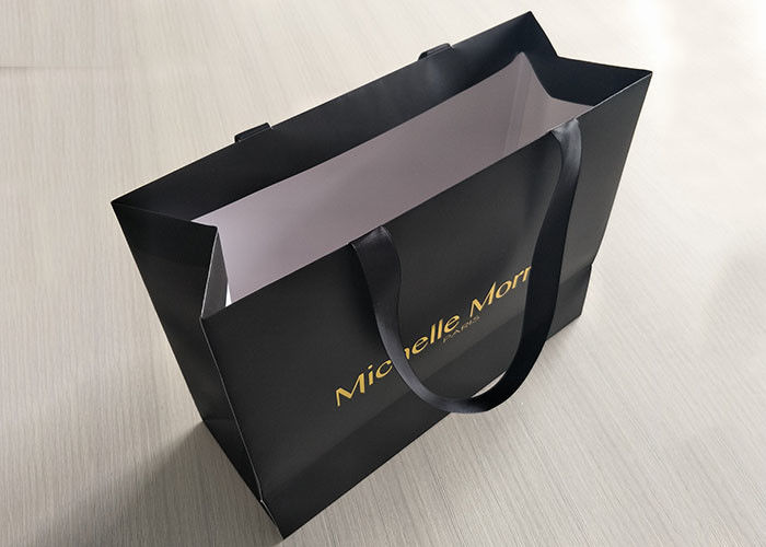 Recyclable Black Paper Shopping Bags Boutique Imprinted Sturdy Delicate supplier