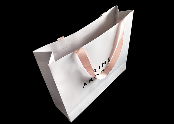 Craft White Paper Shopping Bags UV Logo Printing With Ribbon Handle Paper Grocery Sacks supplier