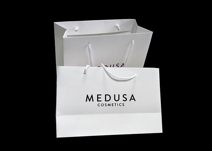 White Paper Printed Paper Bags Fancy Custom Logo Glossy Lamination supplier