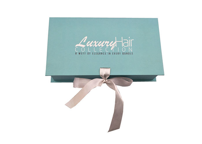 Teal Light Blue Paper Decorative Cardboard Storage Boxes Ribbon Environmental supplier