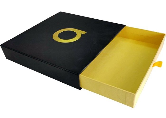Black Paper Sliding Drawer Gift Boxes Foil Gold Embossed Logo For