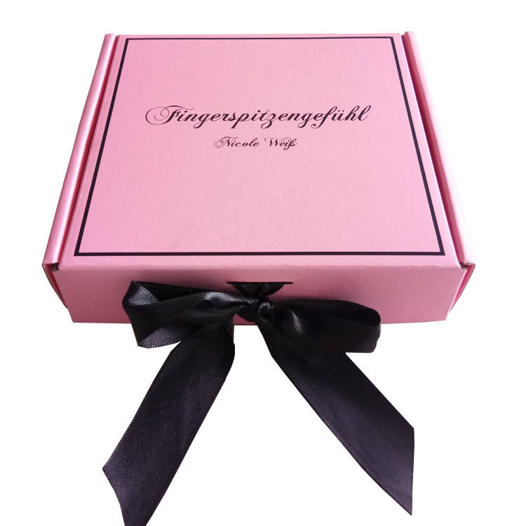 Pink Ribbon Closure Corrugated Gift Box For Girls Dress / Hair Extension supplier