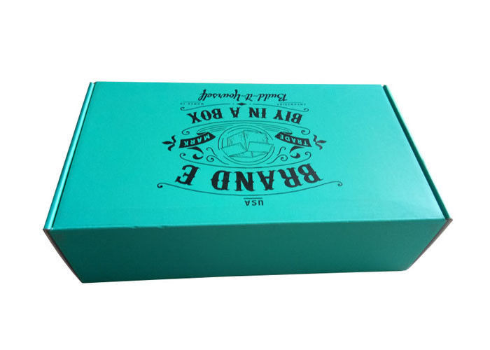 Rigid Teal Color Folding Gift Boxes Black Logo Flat Pack Without Lamination Surface supplier