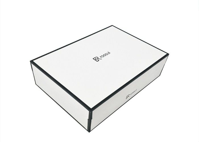 Luxury White Textured Lid And Base Boxes Black Edge Printed For Shoes Packaging supplier