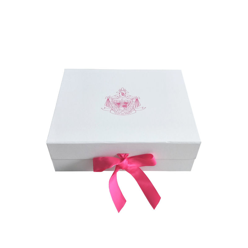 Ribbon Paper Gift Box Elegant White Collapsible Cardboard With Rectangle Shape supplier
