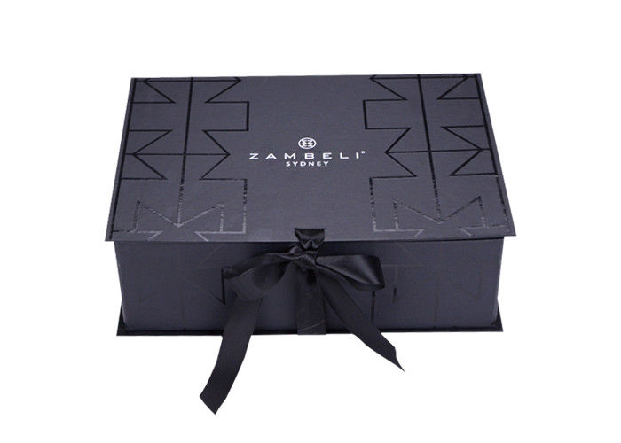Customized Clothes Packaging Folding Pretty Gift Boxes With Ribbon Decorative supplier