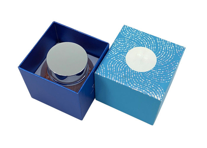 Blue Lid And Base Box 50ml Skin Care Cream Jar Packaging Container UV Coating Surface supplier
