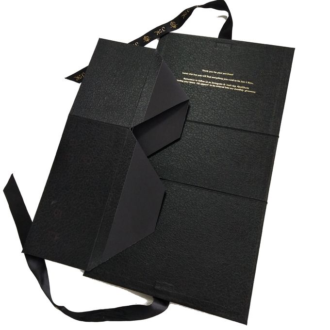 Decorative Design Folding Gift Boxes Black Book Shape With Beautiful Ribbon