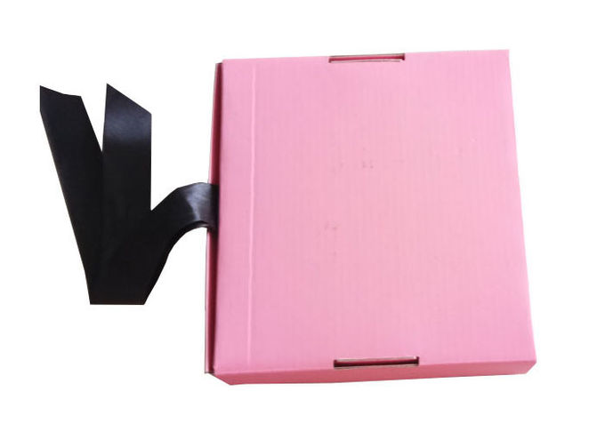 Pink Ribbon Closure Corrugated Gift Box For Girls Dress / Hair Extension