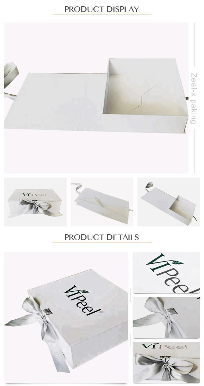Folding Cardboard Paper Gift Box White Ribbon Rectangular Shape Panton Printing