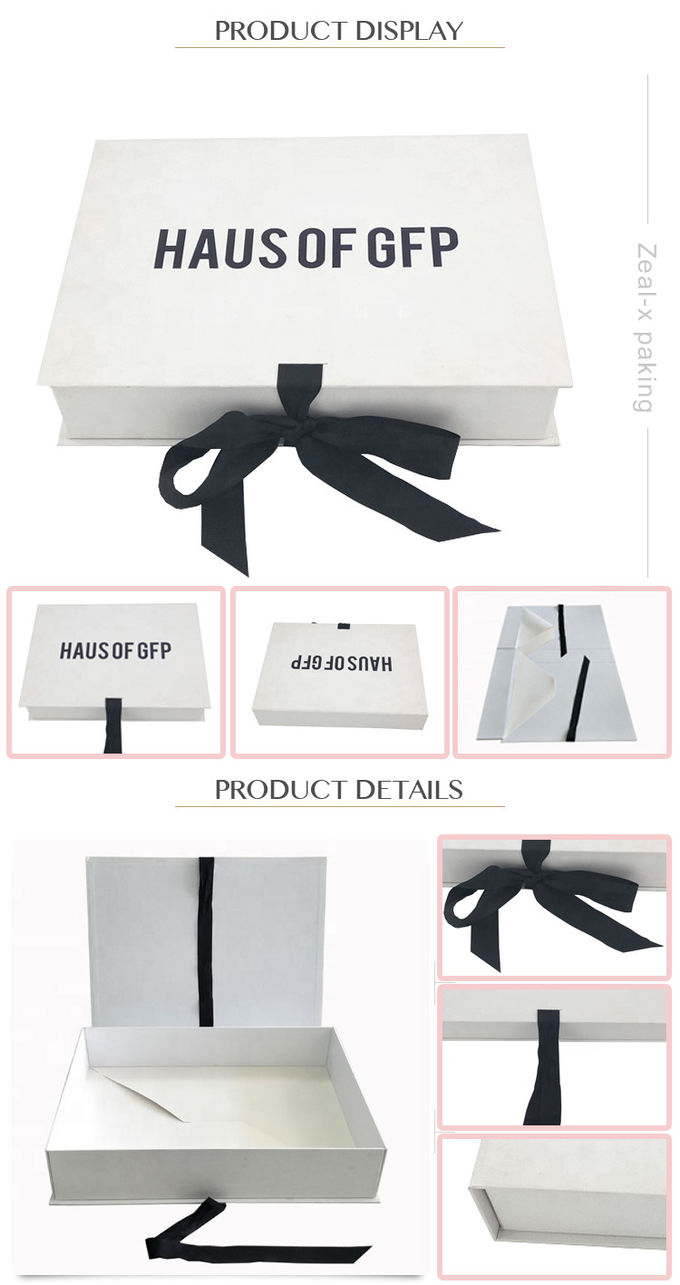 White Flat Folding Ribbon Magnetic Closure Gift Box Easy Transportation For Dress Packaging